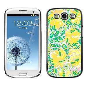 TopCaseStore / la caja del caucho duro de la cubierta de protección de la piel - Green Flowers Flow Summer - Samsung Galaxy S3 I9300