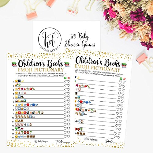25 Emoji Children's Books Pictionary Baby Shower Game Party Ideas For Quiz Boy, Girl, Kids, Men, Women and Couples, Cute Classic Bundle Pack Set, Gold Pink or Blue Gender Neutral Unisex Fun Coed Cards by Hadley Designs (Image #4)