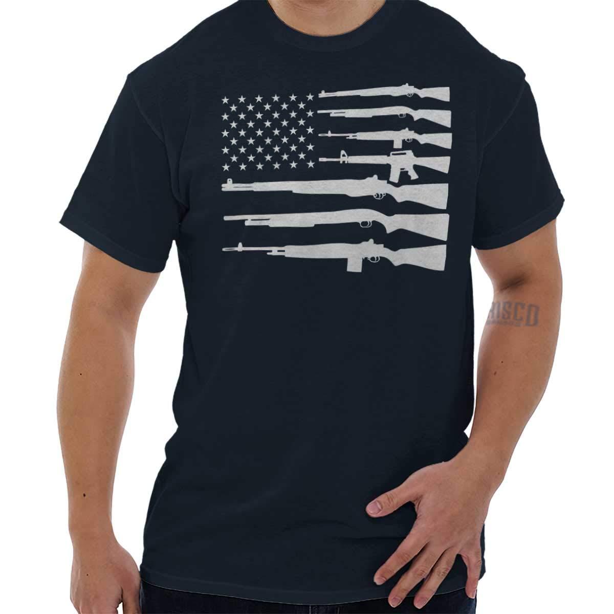 Brisco Brands America Flag Gun USA Shirt | Cool Patriot 2nd Amendment Rifle T-Shirt Tee