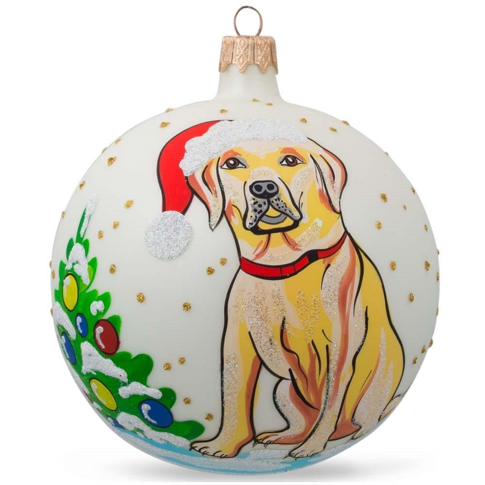 BestPysanky 4'' Yellow Labrador Dog Glass Christmas Ball Animal Ornament