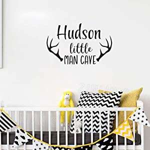 Personalized Name Wall Decal Baby Boys Nursery Decor Man Cave Wall Stickers for Kids Rooms Deer Antlers Art Mural Wallpaper i2 45x71cm