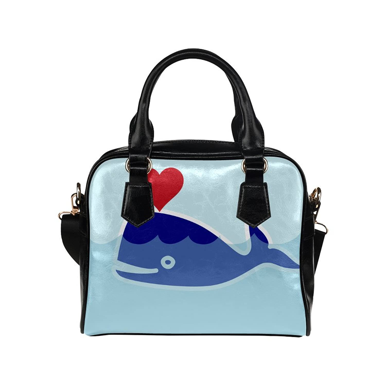 meincare Women's Whale and Heart PU leather Aslant Shoulder Tote Handbags