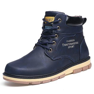 AARDIMI Mode Winter Männer Schuhe Mitte Wade Männer Arbeits Stiefel Casual Warme Winter Schnee Stiefel Große Größe Männliche Lederstiefel(43, Gelb)