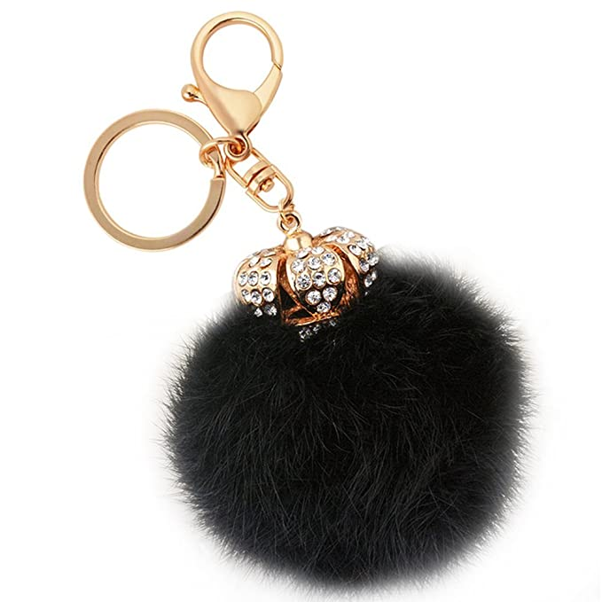 Amazon.com: Fur Keychains Creative Furry Ball Crystal Crown ...
