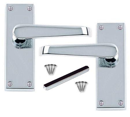 1 PAIR/'VICTORIAN/' CHROME STRAIGHT Lever Latch Door Handle