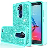 zte blade 3 case - ZTE Blade Max 3 Case with HD Screen Protector for Girls Women,LeYi Luxury Glitter Cute Design [PC Silicone Leather] Dual Layer Protective Phone Case for ZTE Blade Max 3 / Z986U / Z986DL TP Mint