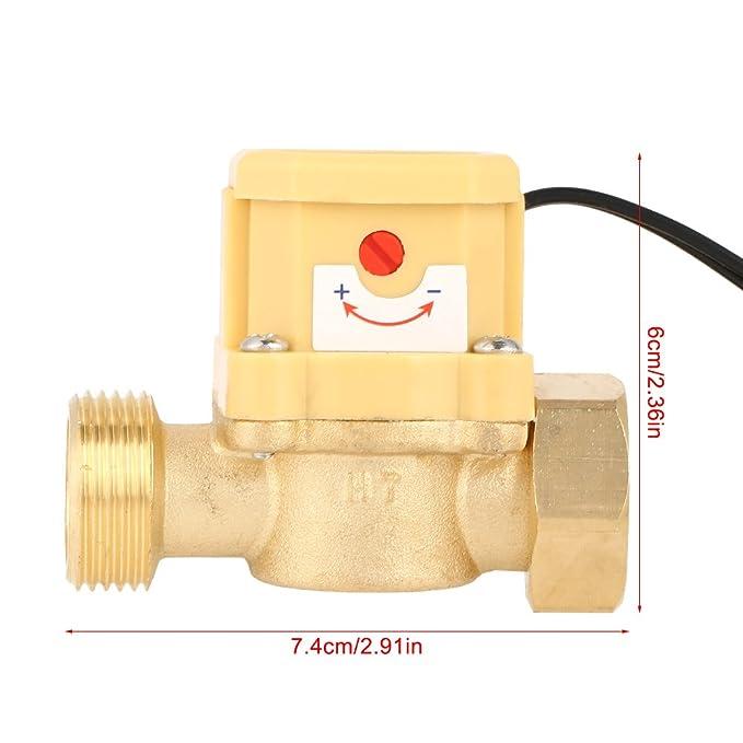 GLOGLOW Interruptor Flujo Agua, presión de la Bomba de líquido Interruptor del Sensor de Control del Flujo del Agua Contador del caudalímetro Rosca G3 / 4 ...