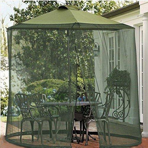 Shatex Mosquito Net Canopy Patio Table Umbrella Outdoor Yard Garden Deck Gazebo Porch Military green, 9ft Dia