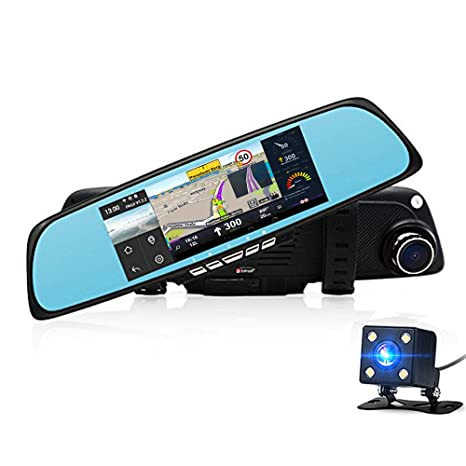 Espejo retrovisor Cámara de Vídeo Grabadora 1080P del coche de doble lente de GPS Navegador para