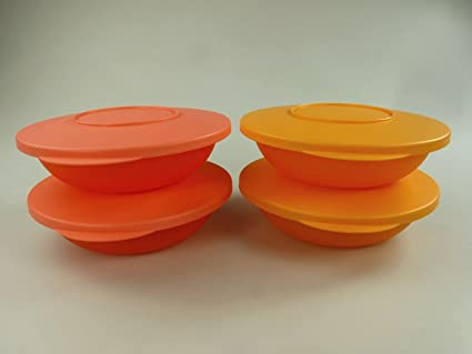 Tupperware Junge Welle – 400 ml Bandejas 2 x Color Naranja + 2 x pastellorange