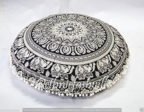 Kiara - 32'' Soft Mandala Large Floor Pillow Meditation Cushion Seating Throw Cover Hippie Decorative Bohemian Boho Indian Pouf Ottoman (Black & White Chokor Mandala) by Kiara