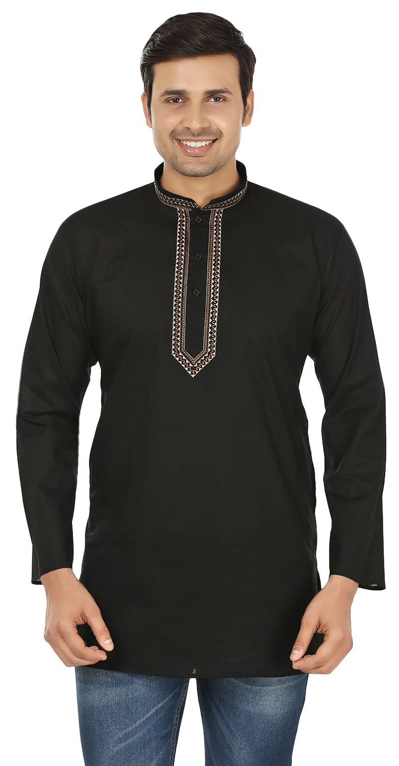 Cotton Dress Mens Short Kurta Shirt India Fashion Clothes (Black, M)