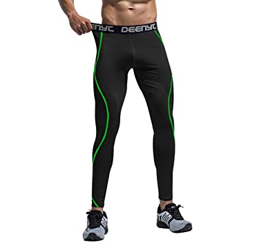 5ef8187dfe70c0 GOMY Men's Cropped Sports Compression Tights Cool Dry Baselayer Leggings  Running Traning Pants