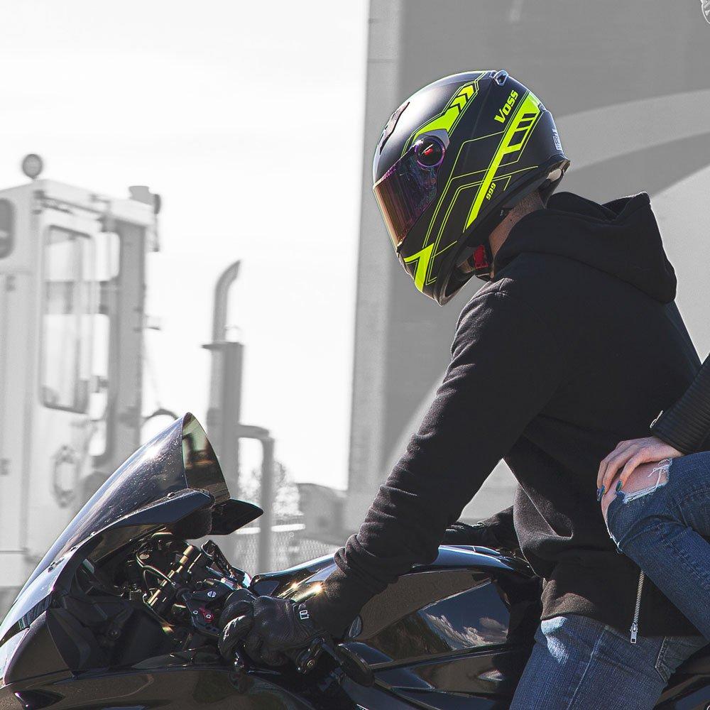 Amazon.com: Voss 999 Bandito Full Face Gloss Apex Helmet with Iridium Face Shield - XXL - Gloss Apex High Visibility: Automotive