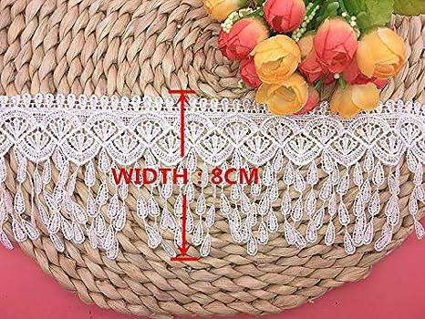 Little lane lace 8 cm de Large Motif Pompons en Dentelle /à Broder Nappe 2 m dans Un Seul Paquet Nappe Nappe de mari/ée Rideau Bricolage de v/êtements//Accessoires.
