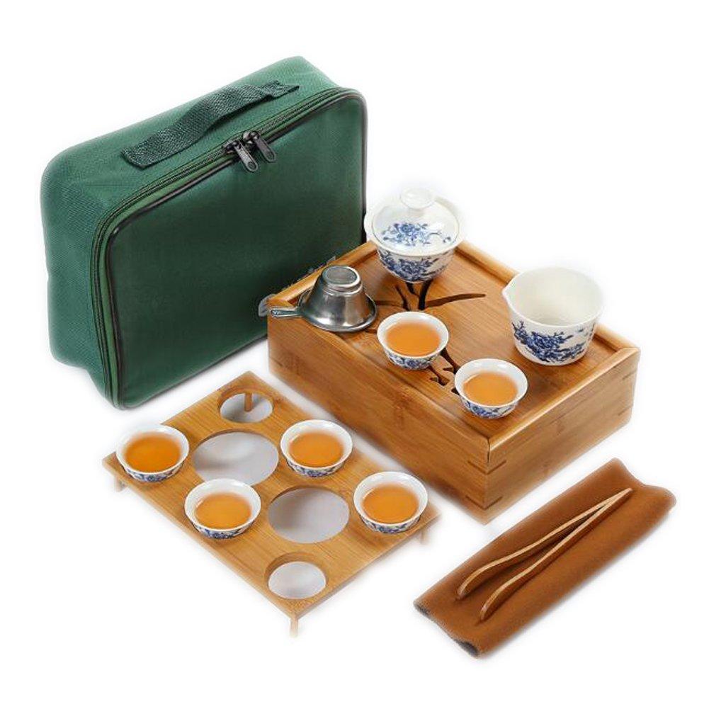 Juego de té portátil de viaje de Juego de té chino de viaje cerámica hecha a mano para picnic de viaje - Peonía 68e057