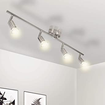 Wowatt Plafonnier Led A 4 Lumieres En Nickel Mat Lampe Applique