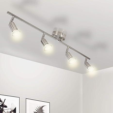 Wowatt Lámpara de techo LED Plafón con Focos Giratorios 4X Bombillas GU10 Bajo consumo 5W 230V 2800K Blanco cálido 420lm 82Ra IP20 Níquel Mate ...