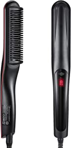 Hair Straightener Brush, LARMHOI Upgraded Hair Straightening Comb with 3 Heat Levels, Auto Off, Frizz-Free, 360 Swivel Cord, Portable Hair Styling Brush for Home, Travel and Salon