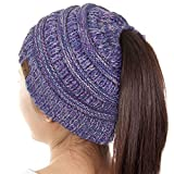 ScarvesMe C.C Beanietail Ponytail Messy Bun Solid Ribbed Beanie Hat Cap (4 Tone 2)