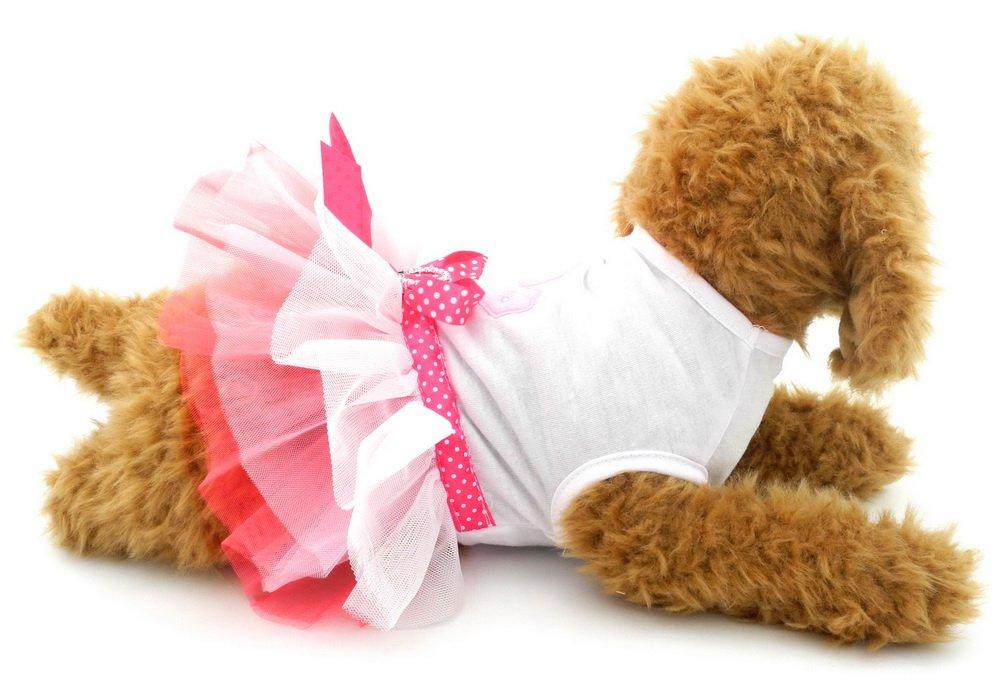 SELMAI Pink Dog Dress Girl Puppy Chihuahua Clothes Heart Small Dog Tee Shirts XS