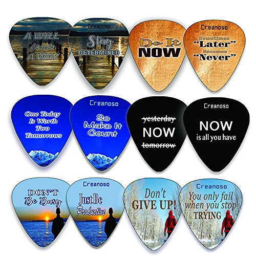 Creanoso Motivational Inspirational Saying Quotes Guitar Picks (12-Pack) – Inspiringly Cool Gifts Love for Men Women Teens Couple - Great Gift Ideas for Anniversary, Birthday, Music Festival -
