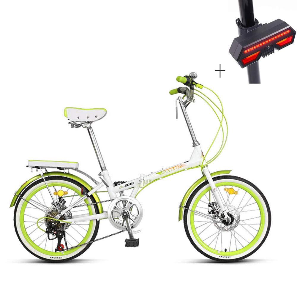 自転車、折りたたみ自転車、20インチ7スピード、高炭素鋼、前後の機械式ディスクブレーキ、滑り止めタイヤ、+自転車のターンシグナル B07JBVYJT3