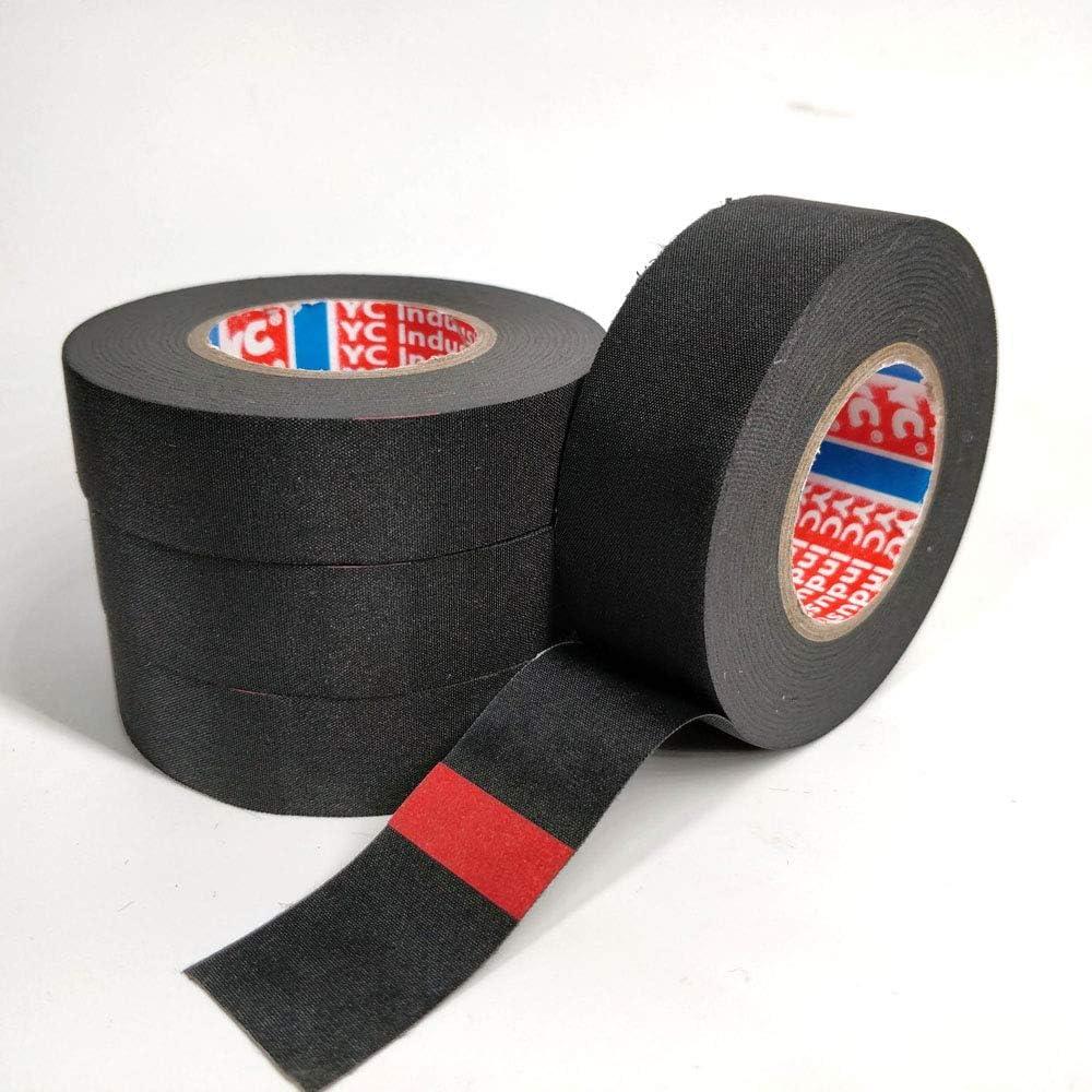 4 piezas Cinta Aislante de algodón, Juego de cables cable de cinta resistente al calor adhesivo de tela cinta telares para coche motocicleta para mazos de Cables domésticos o automotrices