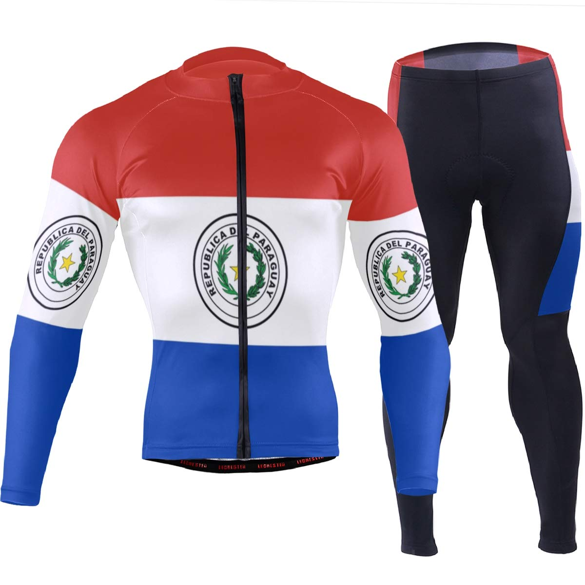 CHINEIN Men's Cycling Jersey Long Sleeve with 3 Rear Pockets Suit Paraguay Flag by CHINEIN