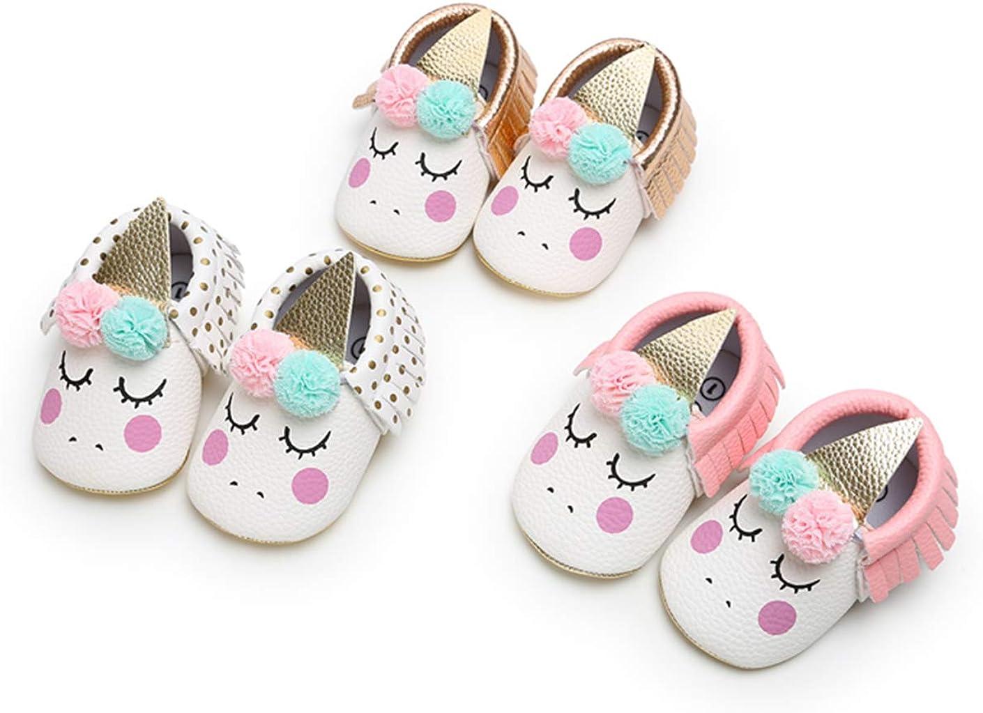 Bebila Unicorn Baby Moccasins Pu Leather Soft Sole Newborn Princess Babe Girls Shoes
