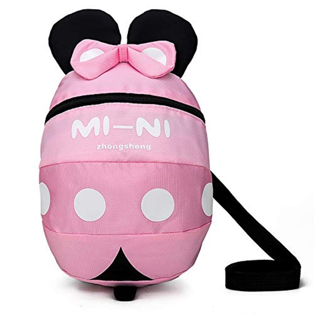 Pink Kid Anti-Lost Rucksack with Safety Harness Baby Preschool with Leash for 1-4 Boys and Girls. Toddler Backpack with reins