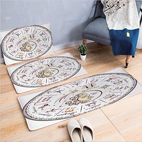 "3 Piece Non-Slip Doormat 3d print for Door mat living room kitchen absorbent kitchen mat,All Signs Aries Virgo Leo Taurus Libra Mystique,15.7""x23.6""by19.7""x31.5""by15.7""x39.4"",coffee table carpet windo"