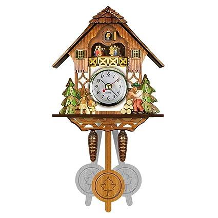lzndeal Antigua Cuco de Madera Reloj pájaro Tiempo Bell Swing Alarma Reloj casa Art Décor