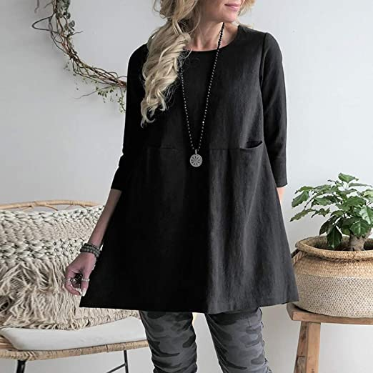 Amazon.com: YKARITIANNA Women Casual Blouse Round Neckline Linen Solid Shirt Boho Loose Pocket Tops: Arts, Crafts & Sewing