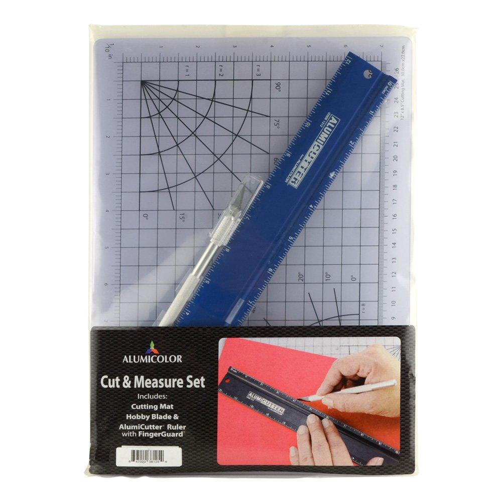 Alumicolor Cut Measure & Measure Cut Set: Gridded Cutting Mat, 12 inch Alumicutter and Hobby Knife, Aluminum, Azul (3812-5) 16888b