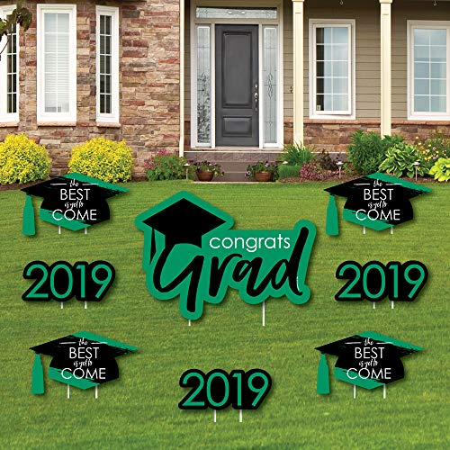 Green Grad - Best is Yet to Come - Yard Sign & Outdoor Lawn Decorations - Green 2019 Graduation Party Yard Signs - Set of 8