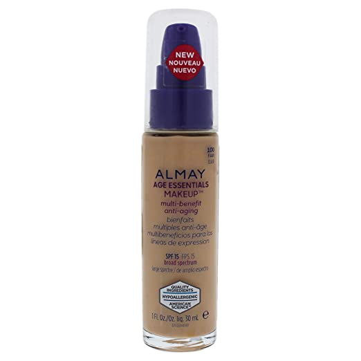 4536bd93c12 Amazon.com : Almay Age Essentials Multi-benefit Anti-aging Makeup - 100  Fair By Almay for Women - 1 Oz Foundation, 1 Oz : Beauty