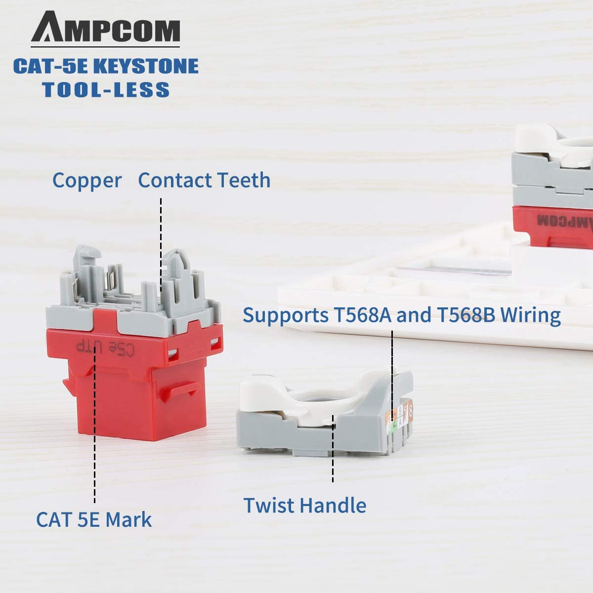 No Punch Down Tool Required UTP Module Connector White AMPCOM 10-Pack CAT5e RJ45 Tool-Less Keystone Jack