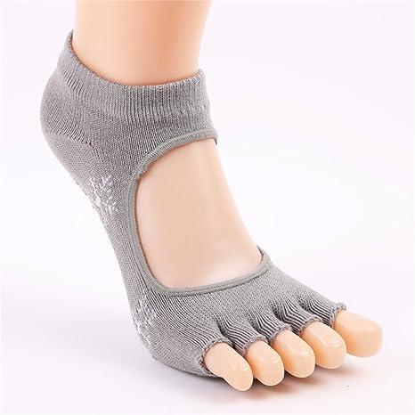 Aszhdfihas Calcetines de Yoga Sra. Leakage Five Fingers Algodón Sweat Sweat Fingers Calcetines Deportivos (