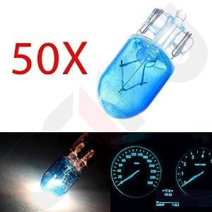 cciyu T10 168 194 W5W Halogen Light Bulb Instrument Cluster Gauge Dash Lamp (50pack blue)