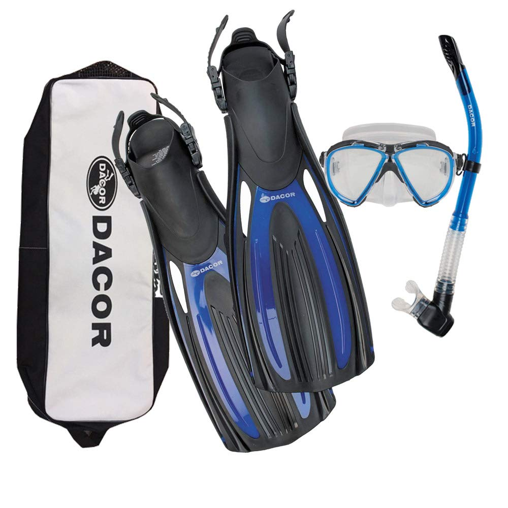 Dacor Scuba Mask Fin Snorkel Package (Blue, X-Small) by Dacor