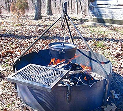 "36"" Steel Fire Ring + Tri Pod + Swing Grate"