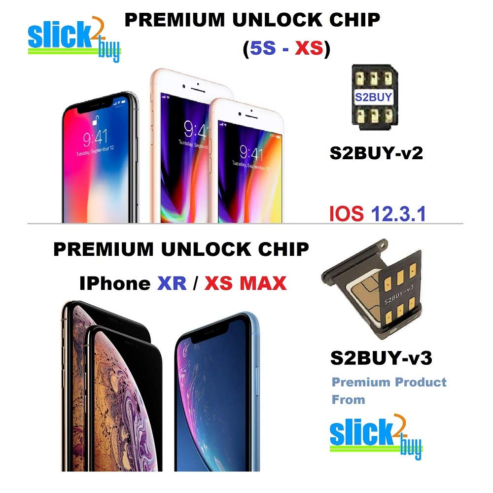 S2BUY Premium CHIP AUTO v12.3.x Compatible with iPhone 5s to XS, Unlock Any CDMA/GSM iPhones to Any GSM Networks. DO NOT Support CDMA SIM Cards (5s - XS)