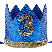 Maticr Glitter Baby Boy Girl First Birthday Crown Number 3 Headband Little Prince Princess Cake Smash Photo Prop (Royal Blue & Gold)
