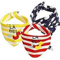 3PCS Nouveau-né Bébé Garçon Fille Coton Bavettes Imperméables en Coton Salive Serviette Burp Tablier Bandana Écharpe