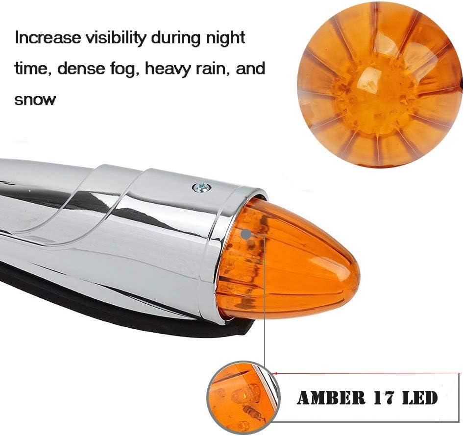 5x Chrome Torpedo 17LED Cab Marker Roof Amber Lights+Free 21SMD LED Side Marker