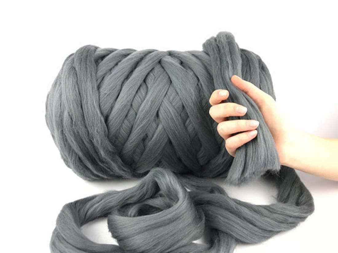 Giant Wool Yarn Chunky Arm Knitting Super Soft Wool Yarn Bulky Wool Roving (2 kg/4.4 lbs, Dark Grey)