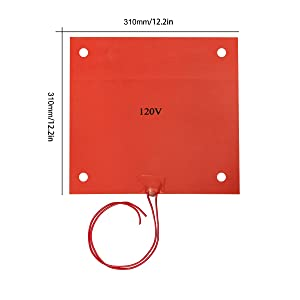 Wisamic Silicone Rubber Heater 310x310mm 120V 750W, with 3M Tape Screw Holes for 3D Printer CR-10 CR-10S S3