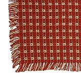 70 x 120 (Rectangle) Homespun Tablecloth, Hand Loomed, 100% Cotton, Cinnamon/Stone