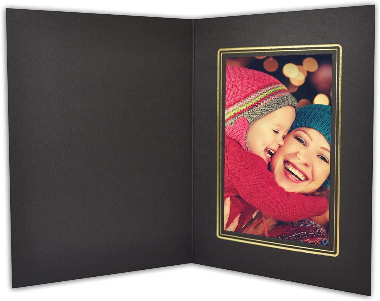 Golden State Art, Pack of 100 Photo Folders for 4x6 Pictures - Acid-Free Cardboard/Paper Frames - Great for Portraits, Special Events, Graduations, Weddings,Black with Gold Lining